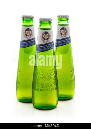 SWINDON, UK - MAY 7th, 2017: 3 Bottles of Peroni Beer, Peroni Brewery (Birra Peroni), is a brewing company, founded in Italy and owned by SAB Miller - Stock Photo