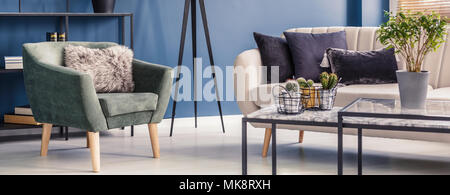 Green armchair with decorative, fur pillow standing in royal blue living room interior with bright couch and metal table with cactuses - Stock Photo