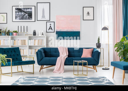 Blue And Pink Living Room Interior With An Armchair Cabinet Lamp