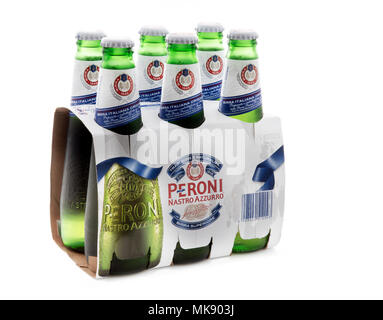 SWINDON, UK - MAY 7th, 2017: 6 Pack of Peroni Beer, Peroni Brewery (Birra Peroni), is a brewing company, founded in Italy and owned by SAB Miller - Stock Photo