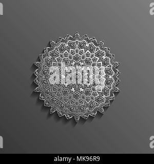 Islamic 3d on dark mandala round ornament background architectural muslim texture design . Can be used for brochures invitations, - Stock Photo