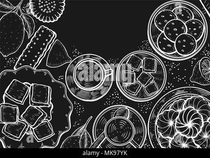 Hand drawn Food menu background. Middle eastern food. Oriental sweets vector illustration. Linear graphic. Monochrom vector illustration. - Stock Photo