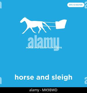 horse and sleigh vector icon isolated on blue background, sign and symbol - Stock Photo