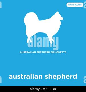 australian shepherd vector icon isolated on blue background, sign and symbol - Stock Photo