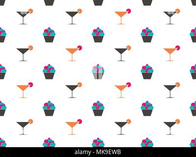 Martini and cake seamless pattern. Cream in the basket. Cocktail. Vector illustration - Stock Photo