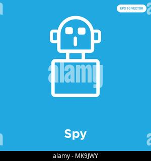 Spy vector icon isolated on blue background, sign and symbol - Stock Photo