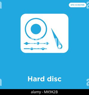 Hard disc vector icon isolated on blue background, sign and symbol - Stock Photo
