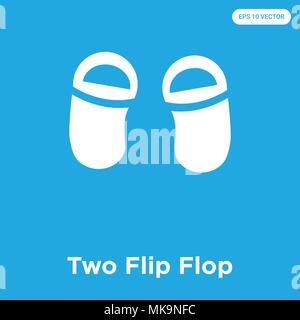 Two Flip Flop vector icon isolated on blue background, sign and symbol - Stock Photo