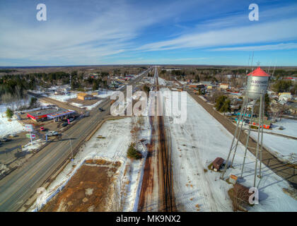 Floodwood, Minnesota Aerial View during Winter in Northern Minnesota Highway 2 - Stock Photo