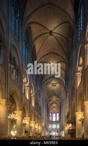 arcades of the nave, cathedral of Notre-Dame de Paris , France - Stock Photo