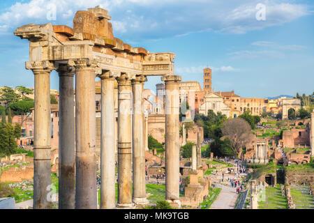 Roman Forum at Sunset in Rome, Italy - Stock Photo