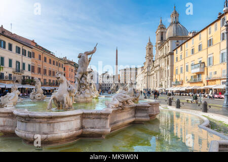 Beautiful day at Piazza Navona, Rome. Italy. - Stock Photo