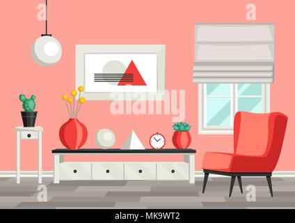 Interior living room. Furniture and home decor Stock Vector Art ...