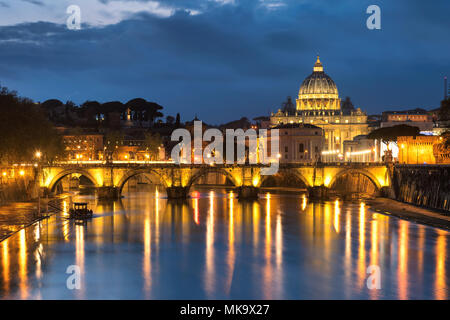 Night View at Tiber and St. Peter's cathedral in Rome, Italy. - Stock Photo
