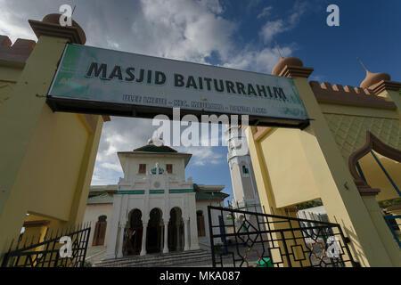 Mosque Baiturrahim, at Aceh district Sumatra, Indonesia - Stock Photo