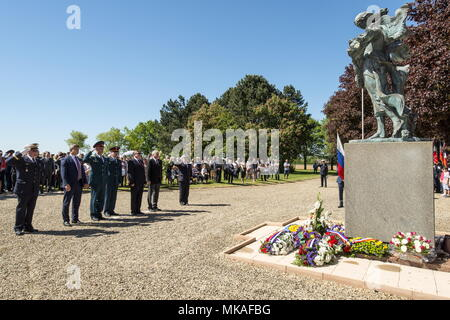 FRANCE - MAY 7, 2018: A ceremony to lay wreaths takes place in the Russian War Cemetery of Noyers-Saint-Martin, the largest WWII burial ground of Soviet soldiers in France. Dominique Boutin/TASS - Stock Photo