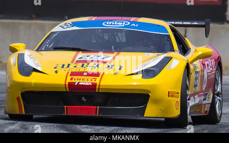 Monterey, CA, USA. 6th May, 2018. A. # 227 Lisa Clark coming out of turn 11 during the Ferrari Challenge 458 Race 2 at WeatherTech Raceway Laguna Seca Monterey, CA Thurman James/CSM/Alamy Live News