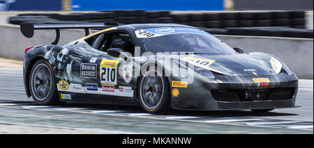 Monterey, CA, USA. 6th May, 2018. A. # 210 Darren Enenstein coming out of turn 11 during the Ferrari Challenge 458 Race 2 at WeatherTech Raceway Laguna Seca Monterey, CA Thurman James/CSM/Alamy Live News