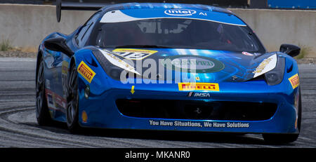 Monterey, CA, USA. 6th May, 2018. A. # 219 Tony Abbott coming out of turn 11 during the Ferrari Challenge 458 Race 2 at WeatherTech Raceway Laguna Seca Monterey, CA Thurman James/CSM/Alamy Live News