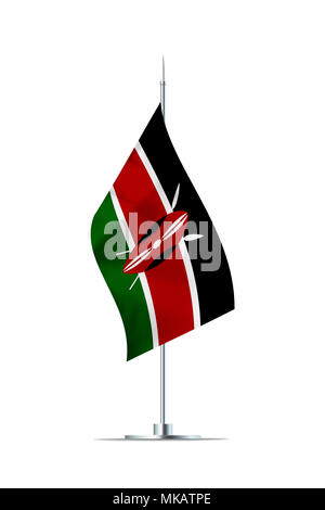 Small Kenya flag  on a metal pole. The flag has nicely detailed textile texture. Isolated on white background. 3D rendering. - Stock Photo