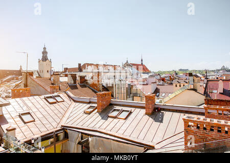 Cityscape view on the old town of Lviv city, Ukraine - Stock Photo