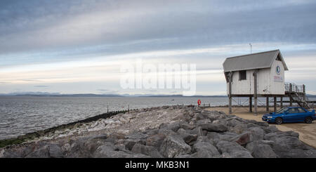 Morecambe, England, UK - November 11, 2017: The Morecambe Sailing Club building looks out across the waters of Morecambe Bay in the Irish Sea from Mar - Stock Photo