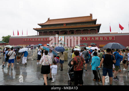 Crowd, people, tourists at the entrance gate of the Forbidden City in Beijing, China, Asia. Travel, holidays, tourism - Stock Photo