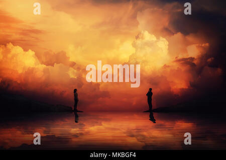 Man and woman stand on different sides of a river bank thinking how to reach each other over a scenery sunset background. Building an imaginary bridge - Stock Photo
