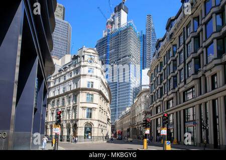 22 Bishopsgate construction in the City of London as seen from the junction of Old Broad Street (L) & Threadneedle Street (R). - Stock Photo