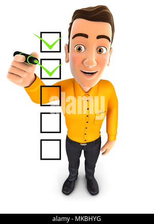3d man checklist, illustration with isolated white background - Stock Photo
