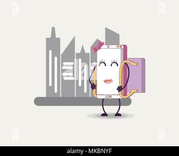 Mobile design with cartoon lady smartphone over city buildings and white background, colorful design. vector illustration - Stock Photo