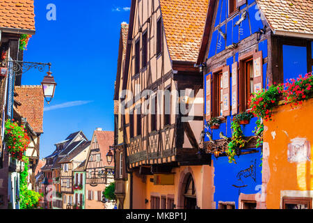Traditional colorful houses in Riquewihr village,Alsace,France. - Stock Photo