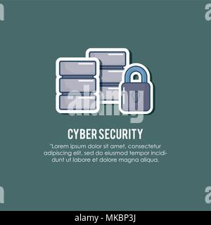 cyber security design with data servers and padlock icon over green background, colorful design. vector illustration - Stock Photo
