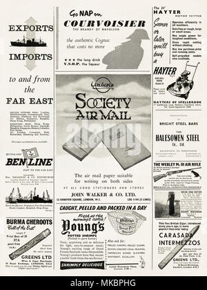 1950s vintage original full page of advertisements typical of the period circa 1958 in English magazine advertising Ben Line shipping, Courvoisier cognac, Hayter lawn mowers, Society air mail paper, Halesowen Steel, Webley air rifle, Burma Cheroots cigars, Young's potted shrimps, Swing King Kutter for weeding gardens & Carasada Intermezzos cigars. - Stock Photo