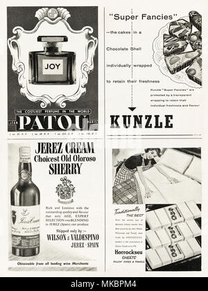 1950s vintage original full page of advertisements typical of the period circa 1958 in English magazine advertising Jean Patou perfume, Kunzle cakes chocolate fancies, Jerez Cream Oloroso sherry & Horrockses cotton sheets, pillow cases & towels. - Stock Photo
