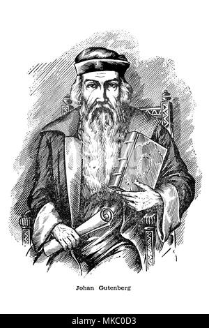 Antique engraving of a portrait of Johannes Gutenberg ...