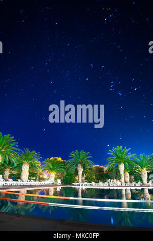 Palms on the pool at night in a starry night of summer in sardinia - Stock Photo