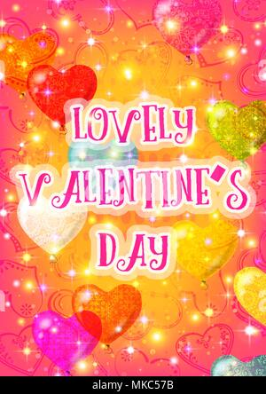Valentine Background with Heart Balloons - Stock Photo