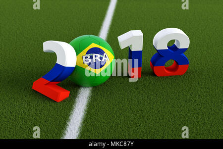 2018 in russian flag colors on a soccer field. A soccer ball in Brazils national colors representing the 0 in 2018. 3D Rendering - Stock Photo