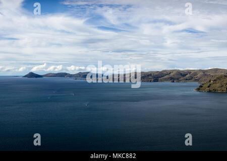 View of Lake Titicaca looking north towards Isla del Sol from Cerro Calvario, Copacabana, Bolivia - Stock Photo