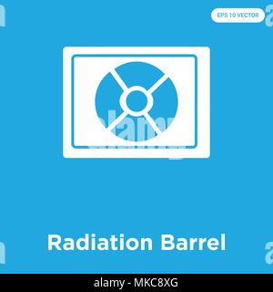 Radiation Barrel vector icon isolated on blue background, sign and symbol - Stock Photo