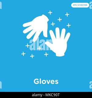 Gloves vector icon isolated on blue background, sign and symbol - Stock Photo