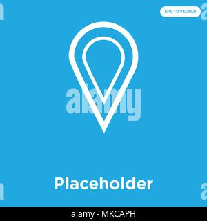 Placeholder vector icon isolated on blue background, sign and symbol - Stock Photo