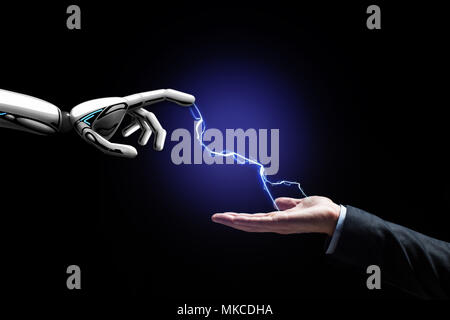 robot and human hand connected by lightning - Stock Photo