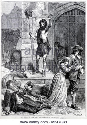 The Great Plague of London 1665, the Enthusiast denouncing London, antique illustration from circa 1880 - Stock Photo