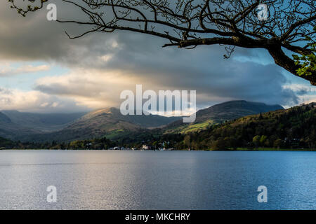 Red Screes and Wansfell Pike seen across Windermere, from the Wray Castle estate, Ambleside, Lake District, Cumbria - Stock Photo