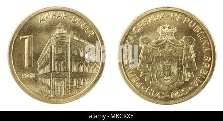 Serbian Coin - One Dinar - macro shoot - Stock Photo