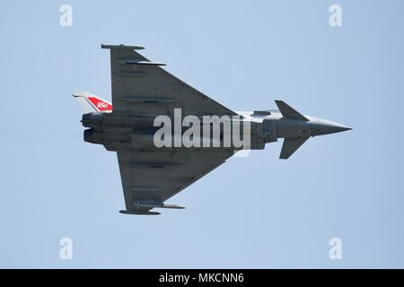 RAF Typhoon FGR4 fighter jet flying at Shuttleworth Season Premiere celebrating the Centenary of the Royal Air Force - Stock Photo