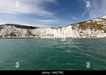 The iconic White Cliffs of Dover taken from the English Channel off the Kent coast, UK. Taken in August 2016 during bright sunlight. - Stock Photo