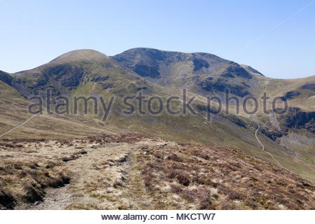 Sail and Crag Hill from Outerside, Lake District - Stock Photo